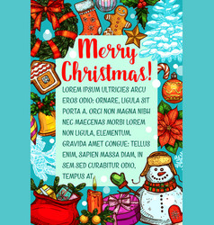 Christmas card with new year holiday sketches vector