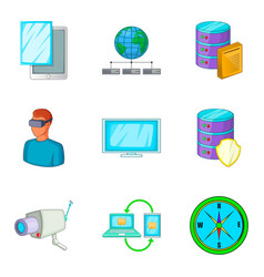 Control device icons set cartoon style vector