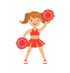 cute little cheerleader girl dancing with red vector image