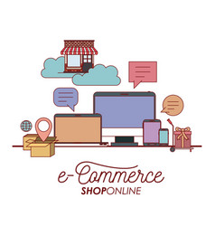 e-commerce shop online set elements on white vector image vector image