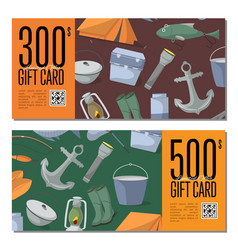 Fishing shop gift card templates vector