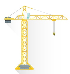 flat style yellow tower building crane icon vector image vector image