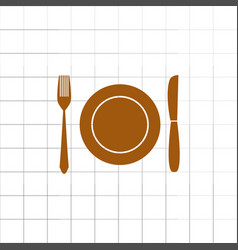 fork knife dish icon vector image