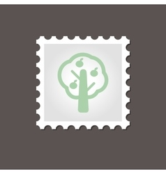 Fruit tree stamp outline vector