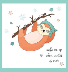 Funny sloth hanging on the branch vector