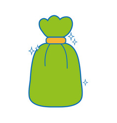 Garbage bag object with biodegradable trash vector