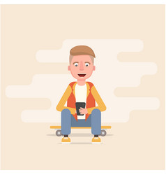 guy is sitting on the skateboard and looking vector image vector image
