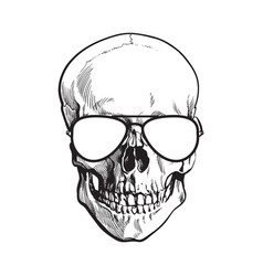 hand drawn human skull wearing black and white vector image vector image