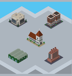 Isometric construction set of industry house vector