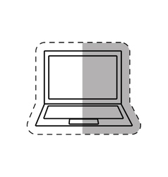 laptop display keyboard device thin line vector image