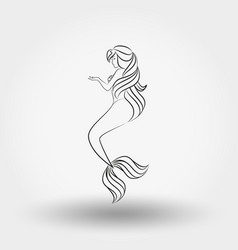 mermaid art line vector image vector image