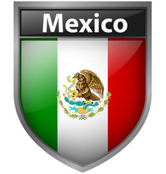 Mexico flag on badge design vector
