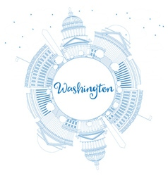 Outline washington dc skyline with blue buildings vector
