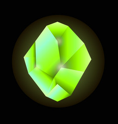 quartz crystal in green color isolated on black vector image vector image
