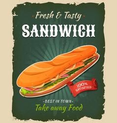 Retro fast food sandwich poster vector