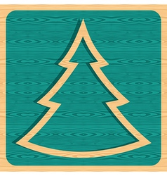 Retro wooden Christmas tree vector image vector image