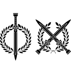 Roman swords and wreath vector