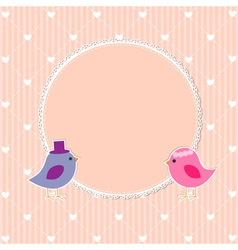 Romantic frame with cute birds vector image