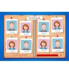 School album yearbook and open book vector