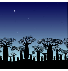 Seamless border of baobabs silhouette on night sky vector