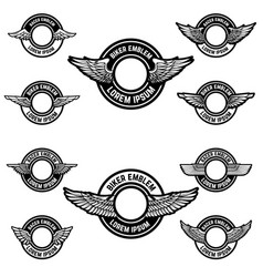 set of blank emblems with wings label templates vector image