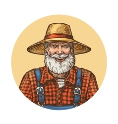 Smiling farmer in straw hat gardener or beekeeper vector