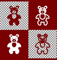 Teddy bear sign bordo and vector