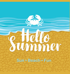 travel banner with sea beach crab and text vector image vector image