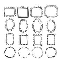 Vintage hand drawn frames in Doodle set of design vector image vector image