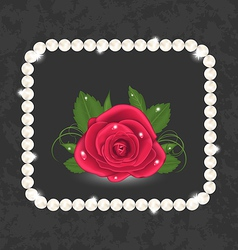 Vintage with red rose and pearls vector image vector image