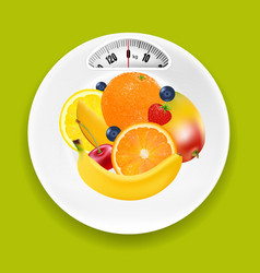 White plate with weight scale and fruits vector