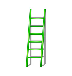 Wooden ladder in green design with shadow vector