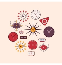 Retro wall and alarm clocks vector