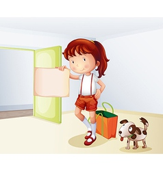 A girl holding a blank paper with a bag and a dog vector image