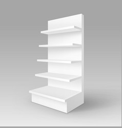 Blank exhibition stand shop rack with shelves vector