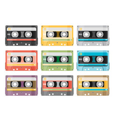 Set of various audio tapes in flat style vector