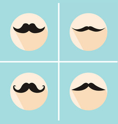 Set of hipster mustache with long flat shadow vector