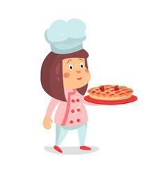 cute cartoon little girl chef character with vector image