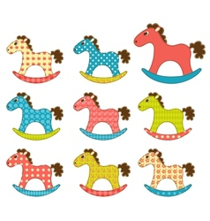 Set of patchwork horses 3 vector