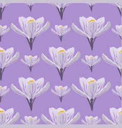 Nature spring crocus flower wreath vector