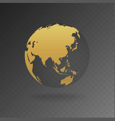 Gold globe icons with different continents vector