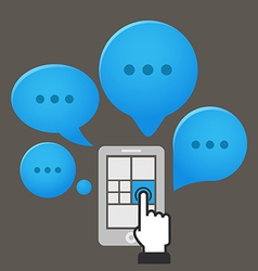 Modern smartphone with group of speech clouds vector image