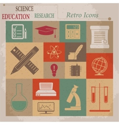 School and education flat retro icons vector