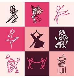 Dances logo icons vector