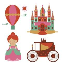 Fantasy castle and princess set vector image