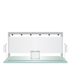 Trade exhibition stand glass and white flag banner vector
