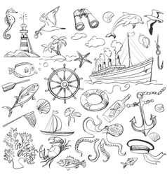 Hand-drawn elements of marine theme vector