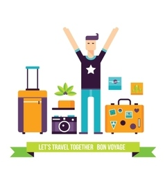 Happy man ready for travel adventures tourism vector
