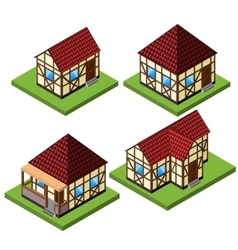 Rural isometric house collection vector