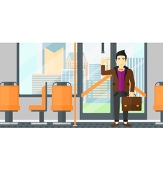Man standing inside public transport vector
